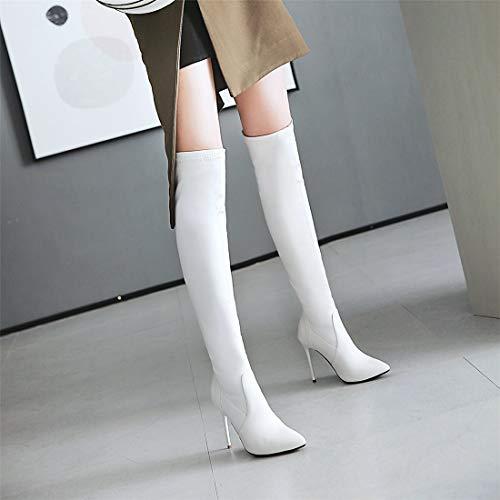 Sandalette white Botas Botas Mujeres Europeos Americanos Puntiagudas la y de Altos DEDE Tacones Altas Botas y hasta Sexy Rodilla rYUqrwA