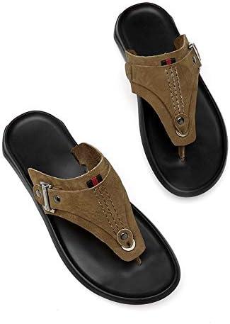 XYAL0003001 Xingyue Aile Slippers & Sandalen Casual Licht Flip-flops voor Mannen, Slip On Stijl OX Lederen Ademende Eenvoudige Gesp Pure Kleur Mode Slippers (Kleur : Khaki, Maat : 37 EU)