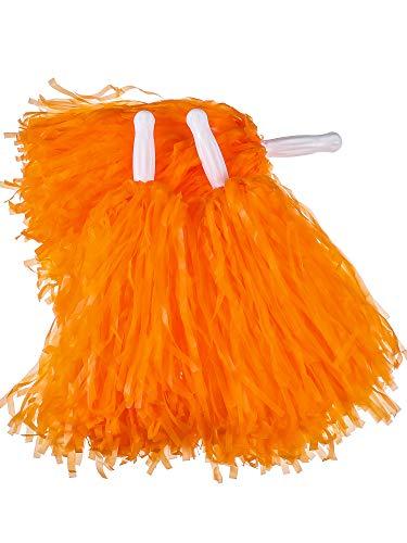 Pangda 12 Pack Cheerleading Pom Poms Sports Dance Cheer Plastic Pom Pom for Sports Team Spirit Cheering (Light Orange)
