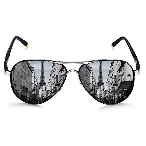 ROCKNIGHT Aviator Polarized Driving Sunglasses for Men Women Metal Frame HD Sunglasses Ultralight Silver-Black grey Lens UV400 - Mirror Black Silver Grey Polarized