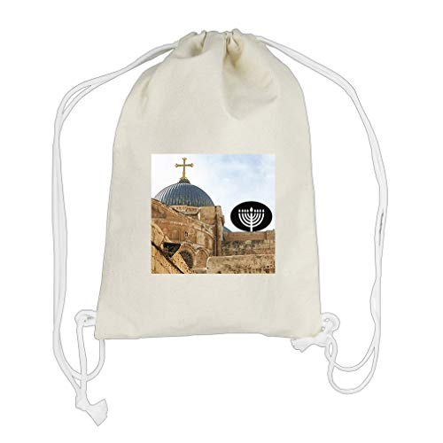 Church Cotton Canvas Backpack Drawstring Bag Sack by Style in Print