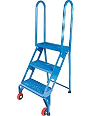 """Portable Folding Ladders, 3 Steps, Perforated, 30"""" High"""