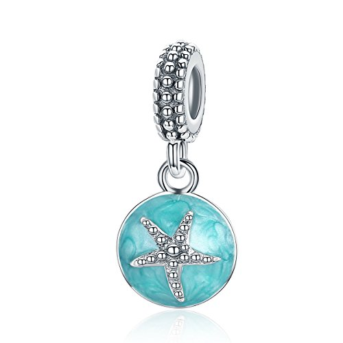 Linorui Starfish Sterling Silver Dangle Love Mom Mother Daughter Charm Bead Blue Enamel Lucky Star Spacer Charms Fit Snake Chain Bracelets and - Silver Sterling Charm Dangle