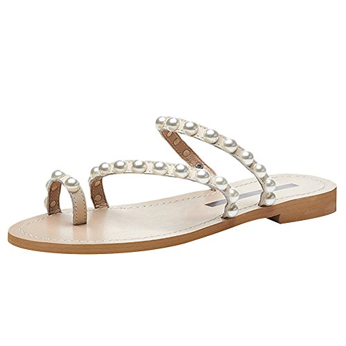 Jamron Women Top Quality Genuine Leather Luxury Pearls Studded Flat Toe Ring Slippers Apricot SN02408-2 US9 by Jamron