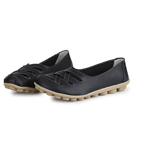 Angelliu Women Casual Comfy Hollow Leather Non-Skid Work Lazy Doug Shoes Mothers Flats Black VHaOLoE6dn