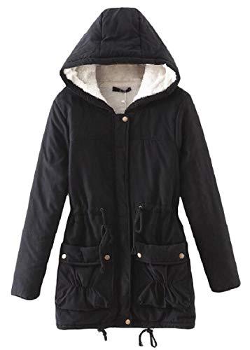 Caldo Medio Outwear Cappotto Nero Cappuccio Tasca Di Velluto Donne Lungo Xinheo Spessore Elastico CzqFwx