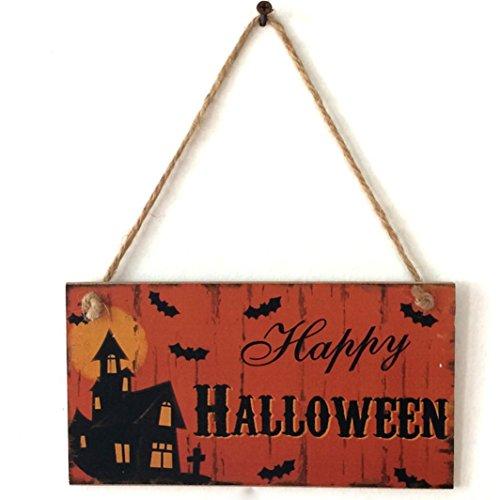 Transer Indoor and Outdoor Halloween Wooden Pendant Hanging Door Decorations and Wall Signs Decor Hanger - Happy Halloween (H) ()