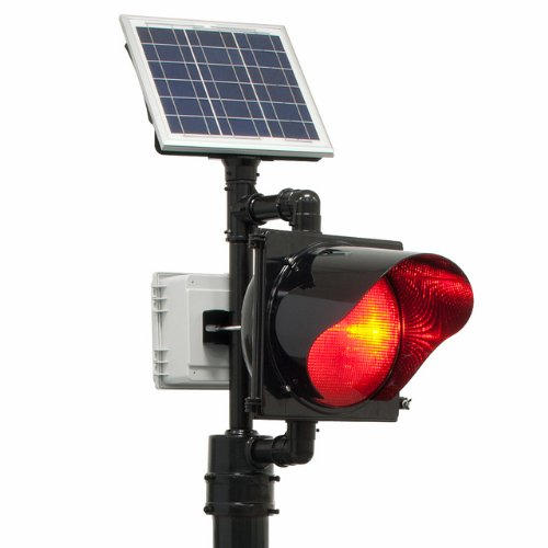 Tapco 2180-BBSRB BlinkerBeacon Solar Flashing LED Red Lens Beacon, 4-1/2'' OD Pole, Black by TAPCO (Traffic & Parking Control Co., Inc.)