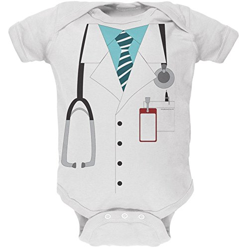 Old Glory Halloween Doctor Costume White Soft Baby One Piece - 0-3 Months ()