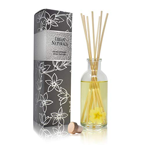 Urban Naturals Timeless Jasmine Gardenia Air Scent Reed Diffuser Set | Beautiful Floral Home Decor with Real Flowers Inside The Bottle! Great Housewarming Gift Idea ()