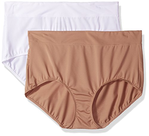 Warner's Women's Plus Size Blissful Benefits No Muffin Top 2 Pack Brief Panty, White/Toasted Almond, 3XL (Warners Hipster Briefs)