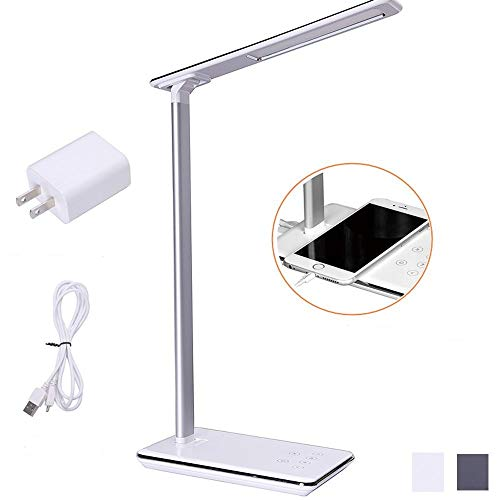 LED Desk Lamp, 4 Light Modes and 5 Level Dimmer Brightness,Memory Function,Sensitive Touch Control,1H/2H Auto Off Timer, USB Charging Port,Aluminum Alloy Body Arm (White) by NARA ONE