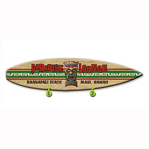 - Bella Coastal Decor Paradise Lounge Surfboard Wood Personalized Sign - 12 x 44