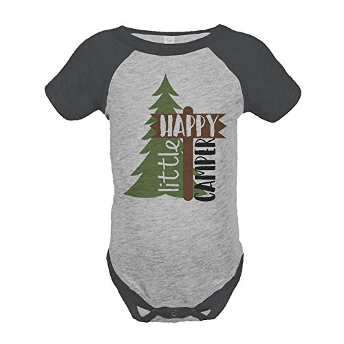 Custom Party Shop Unisex Happy Camper Outdoors Raglan Onepiece 6 Months Grey