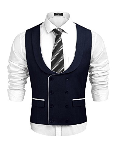 Simbama Men's U-Neck Double Breasted Waistcoat Business Suit Vest for Suit Tuxedo