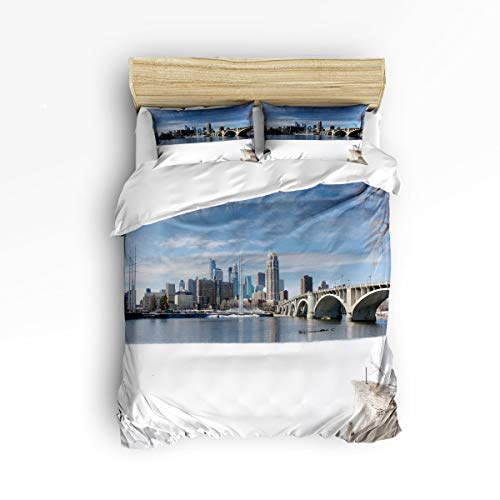 YEHO Art Gallery Soft Duvet Cover Set Bed Sets for Children Kids Girls Boys,The Snow Scenery of The Minneapolis Bedding Sets Home Decor,1 Comforter Cover with 2 Pillow Cases,Twin Size