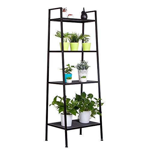 Multipurpose 4 Tier Iron Widen Ladder Bookshelf, Rustic Storage Shelf Bookcase, Vintage Leaning Display Wall Shelves, Metal Decor Furniture, Rack Shelving Stand for Home or Office Use (Black)