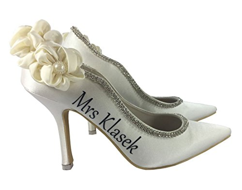 (Ivory Ruched Satin High Heel Wedding Shoes, Personalized Wedding)