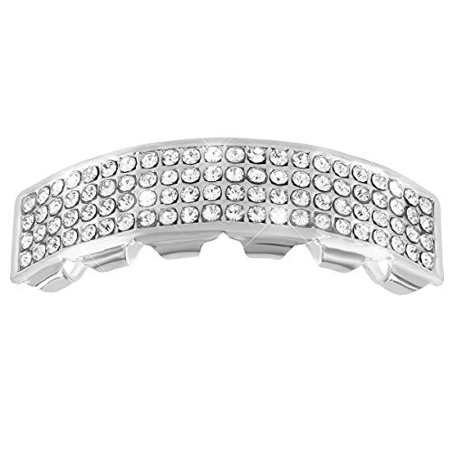 [Top Tooth Caps 14k White Gold Tone Lab Diamond Upper Mouth Grillz Halloween Sale] (Celebrity Halloween Costumes For Sale)