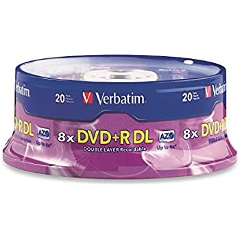 Verbatim DVD+R DL AZO 8.5GB 8x-10x Branded Double Layer Recordable Disc, 20-Disc Spindle 95310