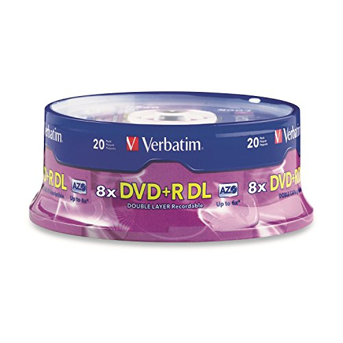 Verbatim DVD+R DL AZO 8.5GB 8x-10x Branded Double Layer Recordable Disc, 20-Disc Spindle 95310 (Recordable Dvd Player)