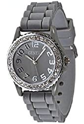 Mens & Womens Gray Silicone Crystal Small Face Watch