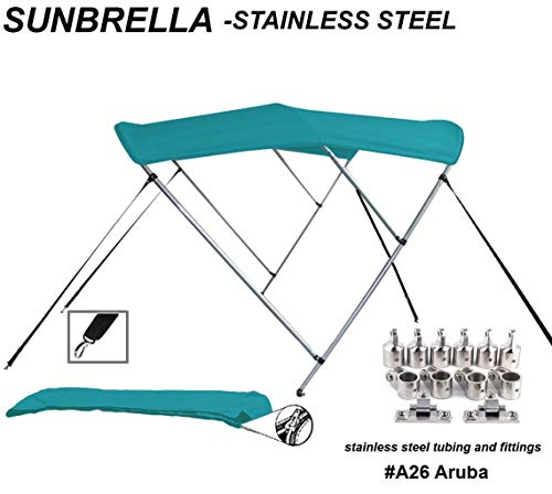 TOP of The LINE Stainless Steel-Sunbrella 9.25oz 3 Bow Round Tube Boat Bimini Top-Sun Shade 91