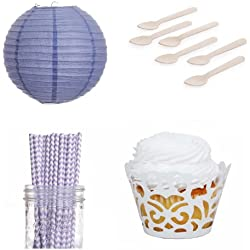 Dress My Cupcake Laser Cut Wrappers Dessert Table Party Kit with Lanterns, Lilac Lavender Chevron Straws