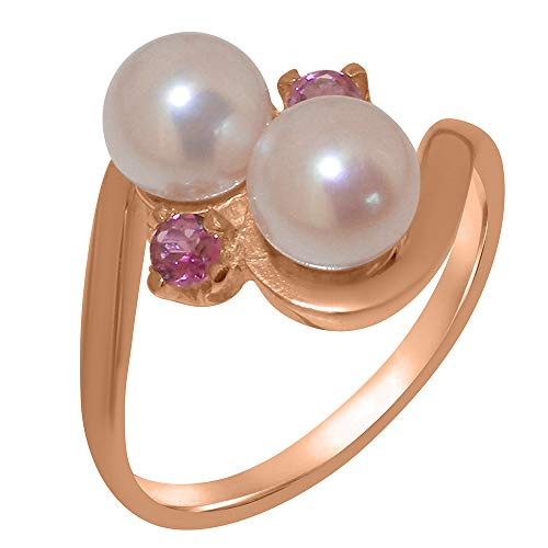 (LetsBuyGold 10k Rose Gold Cultured Pearl & Pink Tourmaline Womens Engagement Ring - Size 7.25)