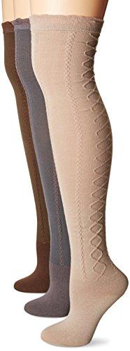 Muk Luks Women's 23'' Lace Texture Knee High Socks, Multi One ()
