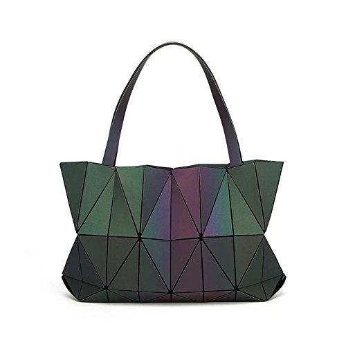 GAOLIQIN Ladies Handbag 2018 New Wave Packet Women's Top-handle Bags Messenger Bag PU Geometric Luminous Crossbody Shoulder Bag (Color : Solid color, Size : One size)