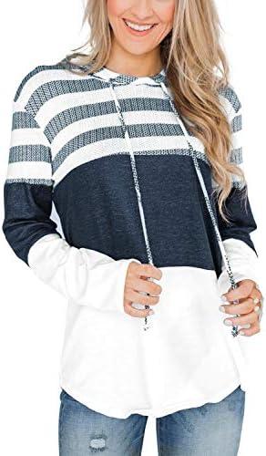 KINGFEN Oversized Sweatshirts for Women Long Sleeve Striped Color Block Hoodies Pullover