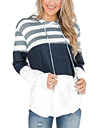 Striped Color Block Hoodies for Womens Long Sleeve Pullover Sweatshirts
