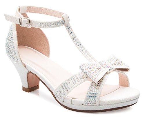 OLIVIA K Girl's Glitter Leatherette Open Toe Strappy Ankle T Strap Kitten Heel Sandal (Toddler/Little Girl) -