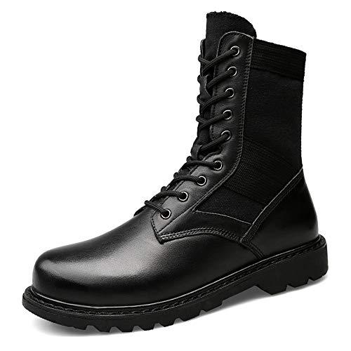 Black Hombres Gran Botas Warm EU Botas de a Color Cuero de Casuales Martin Jusheng Media Genuino Pierna Negro para 45 Moda Boots de tamaño para tamaño xF0wRT1dq