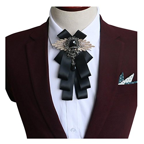 YanLen Groomsman Bridegroom Mens Bow Tie Fashion Bow Tie For Wedding Party (Black)