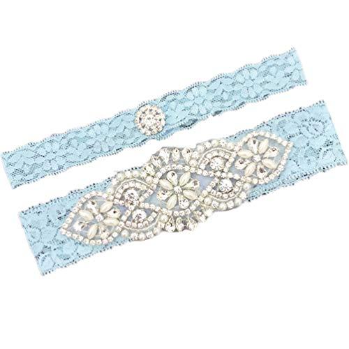 Xoemir Girl's Blue Lace Garter for Brides Party Wedding Garter Belt for Wedding