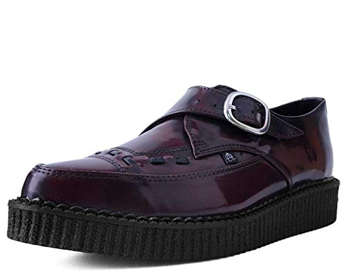 T.U.K. Shoes T2276 Unisex-Adult Creepers, Burgundy Rub Off Pointed Buckle Anarchic Creeper - US: Men 13 / Women 15 / Red/Synthetic