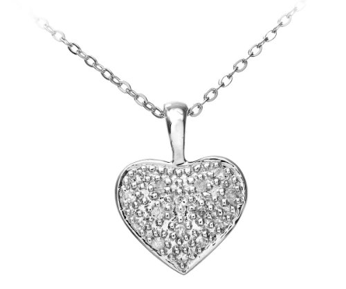 Naava - Collier Femme avec pendentif - Coeur - Or Blanc 375/1000 (9 Cts) 0.9 Gr - Diamant