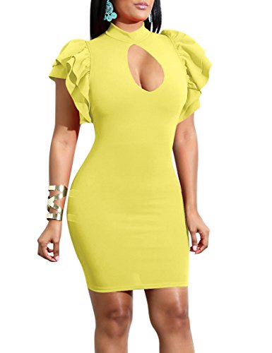 Mokoru Women#039s Sexy Ruffle Short Sleeve Hollow Out Bodycon Party Mini Club Dress XLarge Yellow