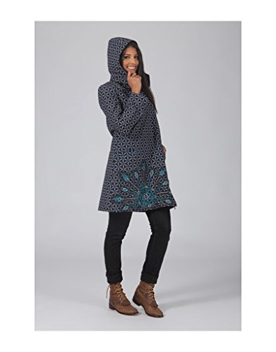 Aller Simplement - Asimétrico con cremallera doble polar 2 algodón manga larga capa bolsillos con capucha desmontable ir simplemente VE4508 Multicolor