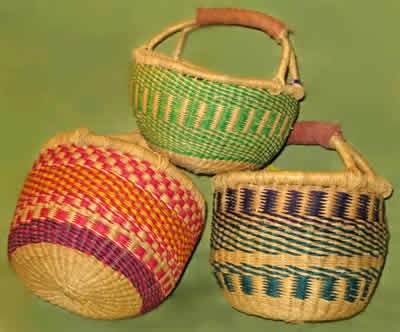 Basket Bolga Market Shopping Tote (Ghana) Straw w/ Leather Handle ONE of Assorted (With Shopping Handles Wicker Baskets Leather)
