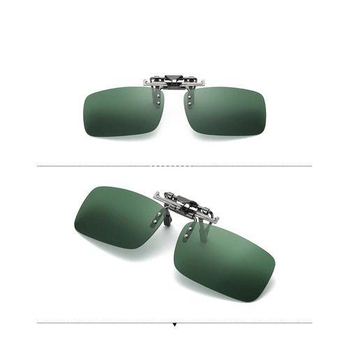 Caiyuangg® Lentilles polarisées, à clipser Lunettes de soleil rectangle objectif Flip Up Conduite Lunettes polarisant Lunettes de soleil, Jaune/vert