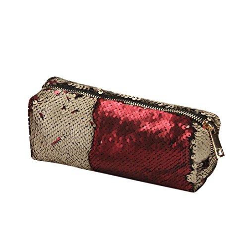 Cheap Cosmetic Bag,AfterSo Unisex Fashion Double Color Sequins Handbag Makeup Bags Makeup Pouch (19cm/7.48″L x 6cm/2.36″W, Gold – Sequins Cosmetic Bag)