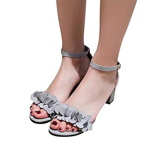 Hemlock Teen Flowers Sandals, Women Flat Sandals Wedges Sandals Open Toe Shoes Low Heels Sandals (US:7.5, Grey)