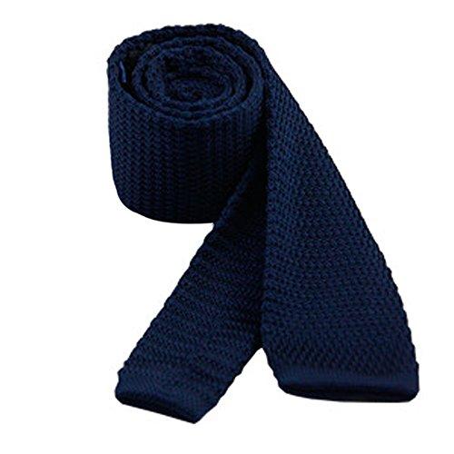 Men's 2'' Vintage Casual Formal Skinny Knit Tie Knitting Necktie (Navy - Tie Blue Knit
