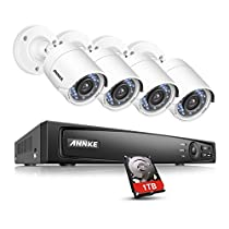 ANNKE Security Camera System 4-channel 1080P HD-TVI H.264+ Realtime DVR and (4) 2.0MP High-Resolution Weatherproof Outdoor Security Cameras with Night Vision ,NO HDD