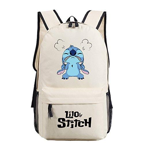 YOURNELO Cartoon Lilo & Stitch Backpack Canvas School Bag Bookbag for Boys Girls (Beige Stitch)