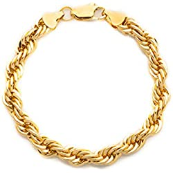 Gold Rope Bracelet 7MM, 24K Overlay Premium Fashion Jewelry, Guaranteed for Life, 9 Inches