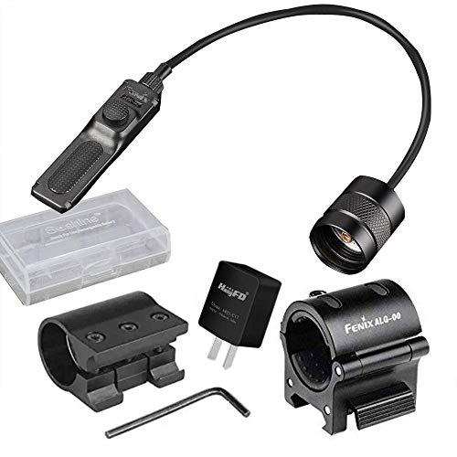 Fenix Bundle ALG 00 Mount, AER-02 Remote Pressure Switch,ALG-01 Rail Mount,Adapter,Battery case ()